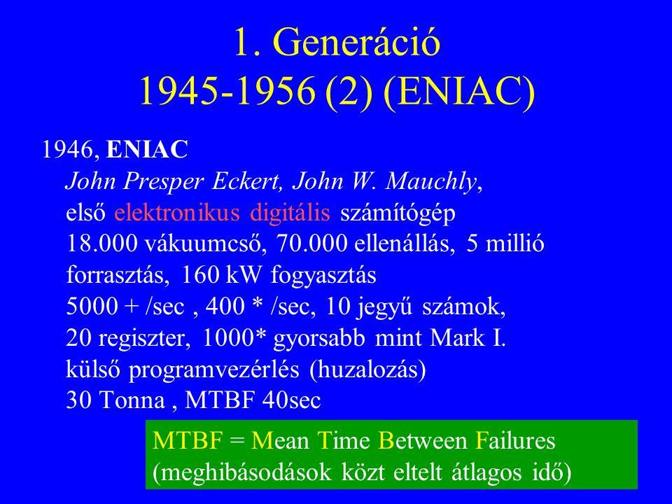 11 1.Generáció 1945-1956 (2) (ENIAC) 1946, ENIAC John Presper Eckert, John W.
