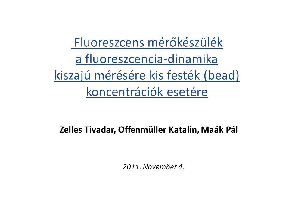 Fluoreszcens mérőkészülék a fluoreszcencia-dinamika kiszajú mérésére kis festék (bead) koncentrációk esetére 2011.