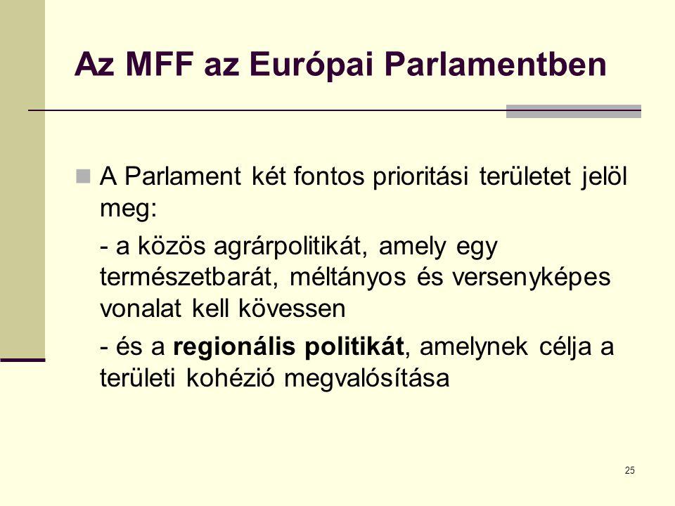 25 Az MFF az Európai Parlamentben  A Parlament két fontos prioritási területet jelöl meg: - a közös agrárpolitikát, amely egy természetbarát, méltányos és versenyképes vonalat kell kövessen - és a regionális politikát, amelynek célja a területi kohézió megvalósítása