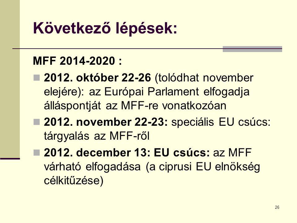 26 Következő lépések: MFF 2014-2020 :  2012.