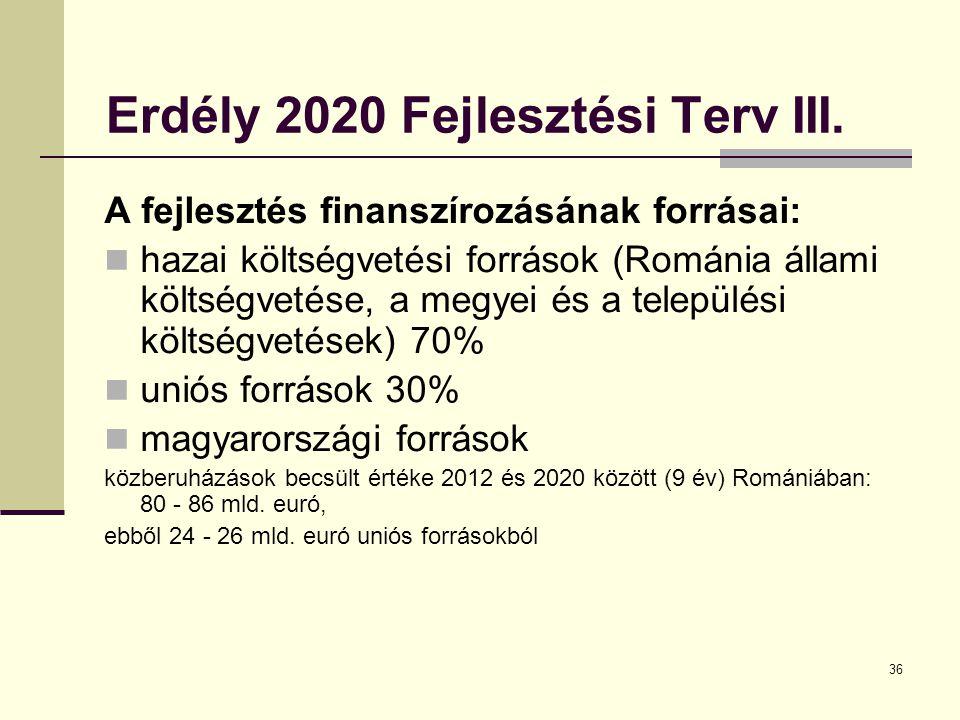 36 Erdély 2020 Fejlesztési Terv III.