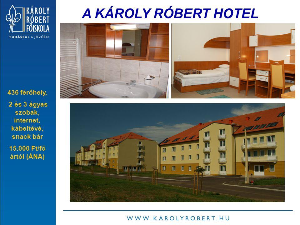 A KÁROLY RÓBERT HOTEL 436 férőhely, 2 és 3 ágyas szobák, internet, kábeltévé, snack bár 15.000 Ft/fő ártól (ÁNA)