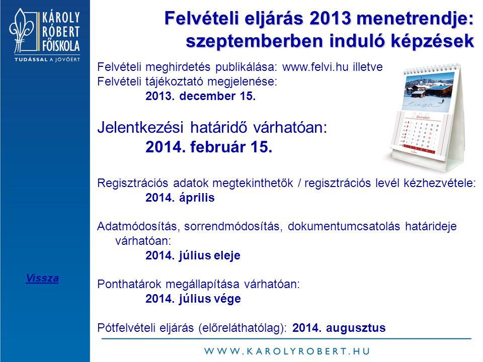 Felvételi eljárás 2013 menetrendje: szeptemberben induló képzések Felvételi meghirdetés publikálása: www.felvi.hu illetve Felvételi tájékoztató megjelenése: 2013.