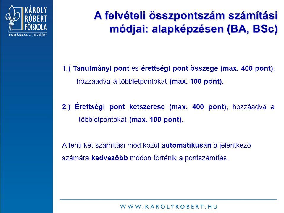 A felvételi összpontszám számítási módjai: alapképzésen (BA, BSc) 1.) Tanulmányi pont és érettségi pont összege (max.
