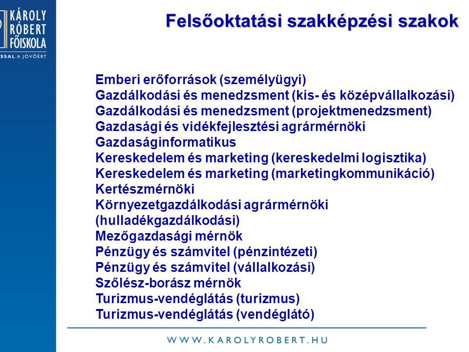 Felsőoktatási szakképzési szakok Emberi erőforrások (személyügyi) Gazdálkodási és menedzsment (kis- és középvállalkozási) Gazdálkodási és menedzsment (projektmenedzsment) Gazdasági és vidékfejlesztési agrármérnöki Gazdaságinformatikus Kereskedelem és marketing (kereskedelmi logisztika) Kereskedelem és marketing (marketingkommunikáció) Kertészmérnöki Környezetgazdálkodási agrármérnöki (hulladékgazdálkodási) Mezőgazdasági mérnök Pénzügy és számvitel (pénzintézeti) Pénzügy és számvitel (vállalkozási) Szőlész-borász mérnök Turizmus-vendéglátás (turizmus) Turizmus-vendéglátás (vendéglátó)
