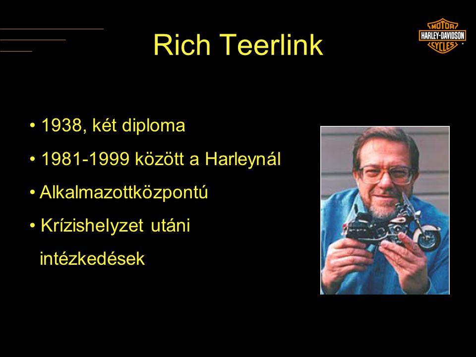 Rich Teerlink • 1938, két diploma • 1981-1999 között a Harleynál • Alkalmazottközpontú • Krízishelyzet utáni intézkedések