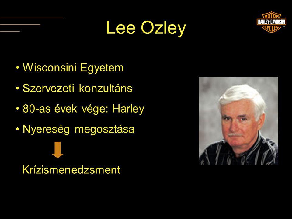 Lee Ozley • Wisconsini Egyetem • Szervezeti konzultáns • 80-as évek vége: Harley • Nyereség megosztása Krízismenedzsment