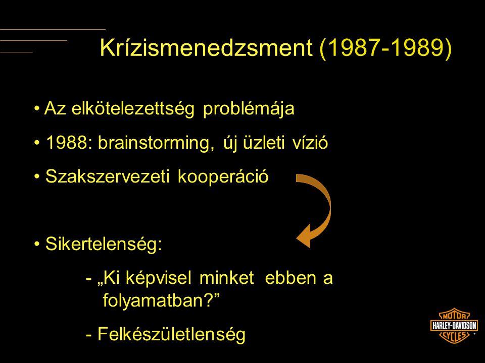 """Krízismenedzsment (1987-1989) • Az elkötelezettség problémája • 1988: brainstorming, új üzleti vízió • Szakszervezeti kooperáció • Sikertelenség: - """"K"""