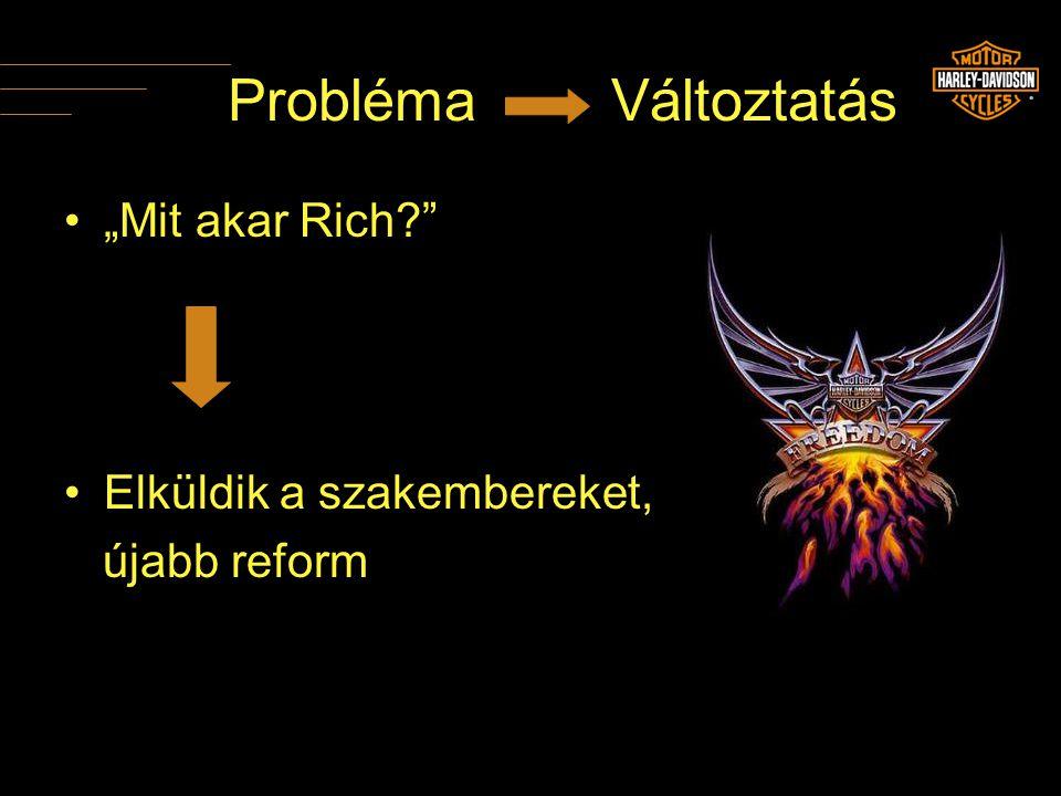 """Probléma Változtatás •""""Mit akar Rich?"""" •Elküldik a szakembereket, újabb reform"""