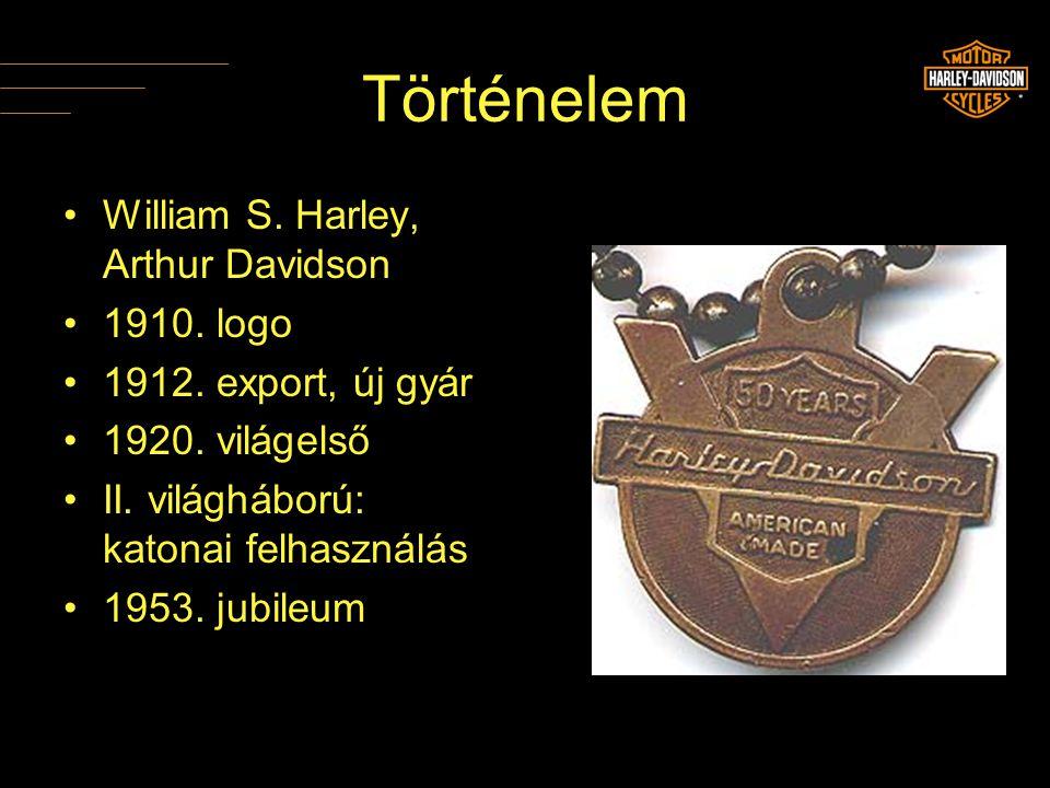 Történelem •William S. Harley, Arthur Davidson •1910. logo •1912. export, új gyár •1920. világelső •II. világháború: katonai felhasználás •1953. jubil