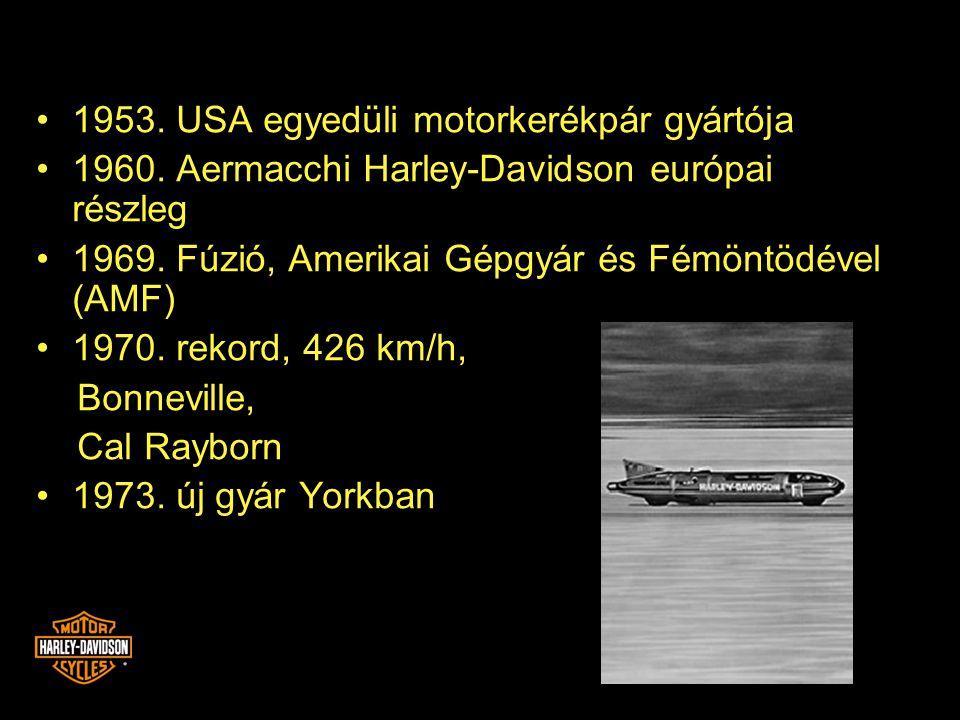 •1953. USA egyedüli motorkerékpár gyártója •1960. Aermacchi Harley-Davidson európai részleg •1969. Fúzió, Amerikai Gépgyár és Fémöntödével (AMF) •1970