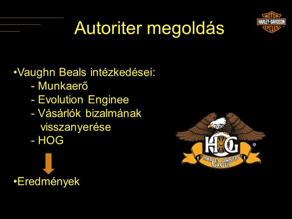 Autoriter megoldás •Vaughn Beals intézkedései: - Munkaerő - Evolution Enginee - Vásárlók bizalmának visszanyerése - HOG •Eredmények