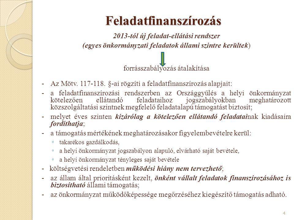 Feladatfinanszírozás Feladatfinanszírozás 2013-tól új feladat-ellátási rendszer (egyes önkormányzati feladatok állami szintre kerültek) forrásszabályo