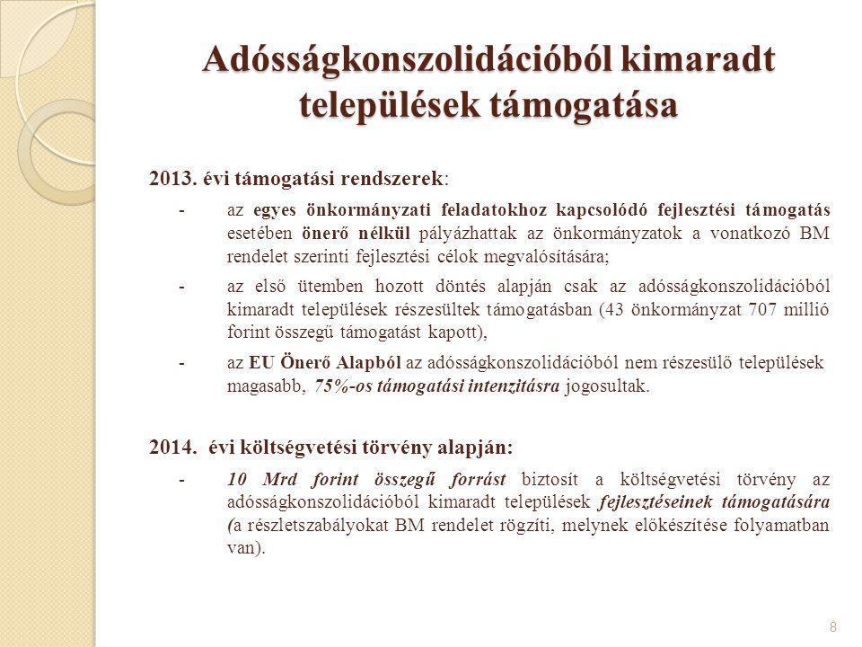 Adósságkonszolidációból kimaradt települések támogatása 2013. évi támogatási rendszerek: -az egyes önkormányzati feladatokhoz kapcsolódó fejlesztési t