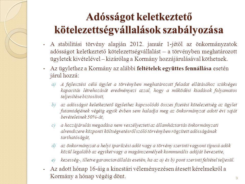 Adósságot keletkeztető kötelezettségvállalások szabályozása - A stabilitási törvény alapján 2012. január 1-jétől az önkormányzatok adósságot keletkezt