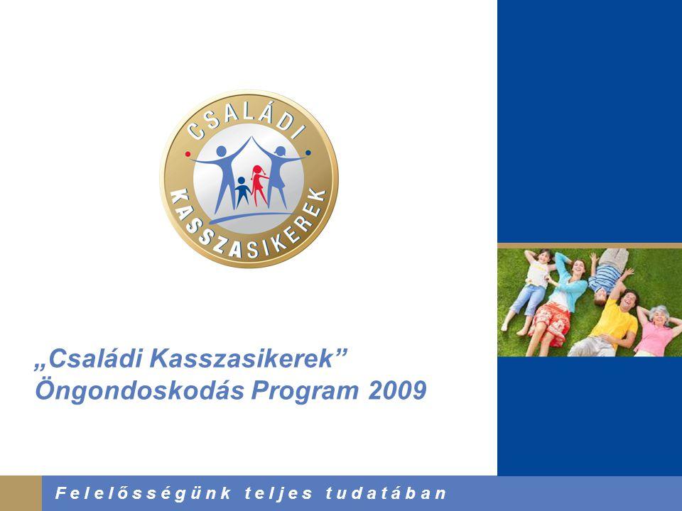 """2008. Június 3. F e l e l ő s s é g ü n k t e l j e s t u d a t á b a n """"Családi Kasszasikerek"""" Öngondoskodás Program 2009"""