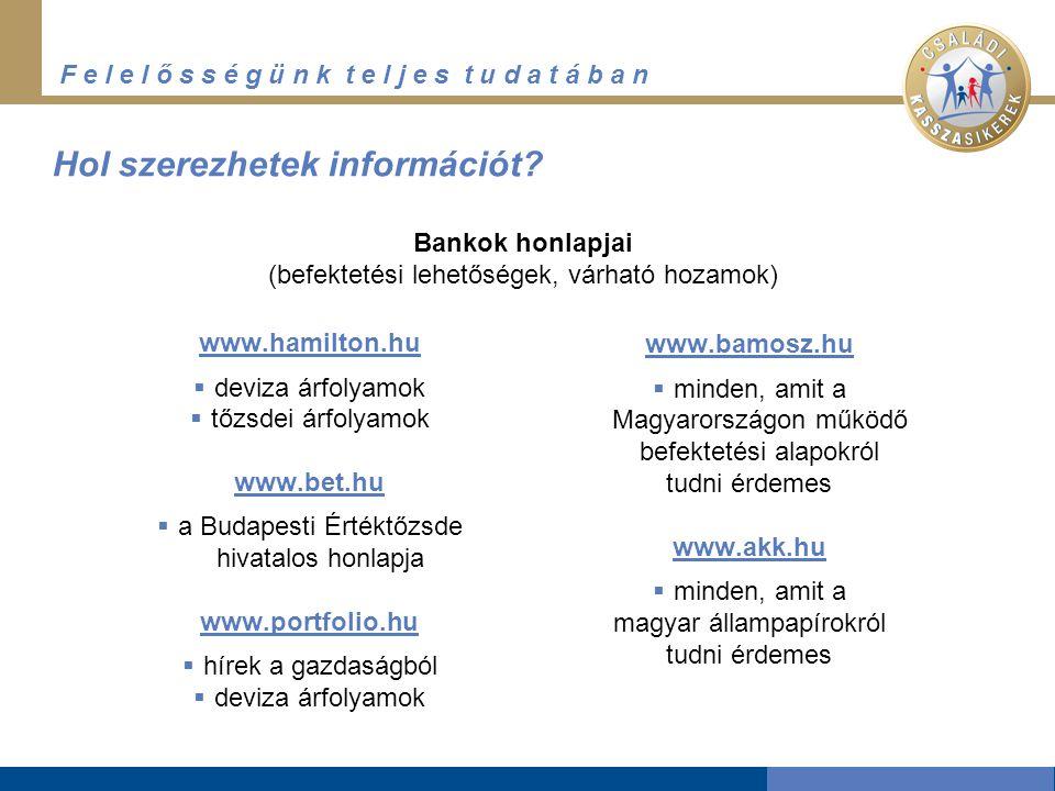 F e l e l ő s s é g ü n k t e l j e s t u d a t á b a n Hol szerezhetek információt? www.hamilton.hu  deviza árfolyamok  tőzsdei árfolyamok www.bet.