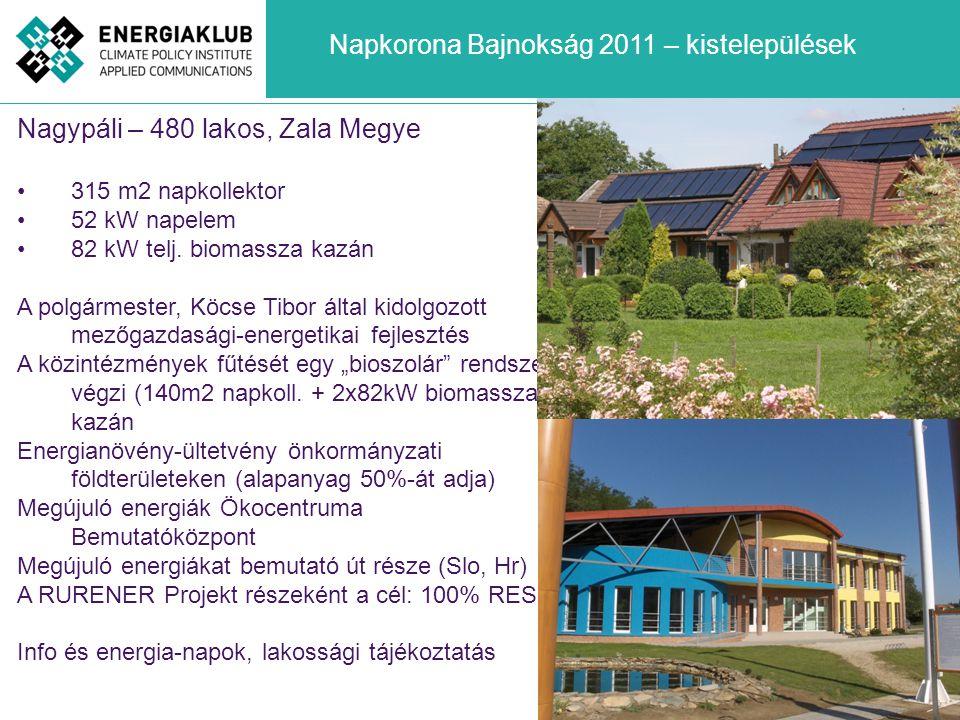 Nagypáli – 480 lakos, Zala Megye •315 m2 napkollektor •52 kW napelem •82 kW telj. biomassza kazán A polgármester, Köcse Tibor által kidolgozott mezőga