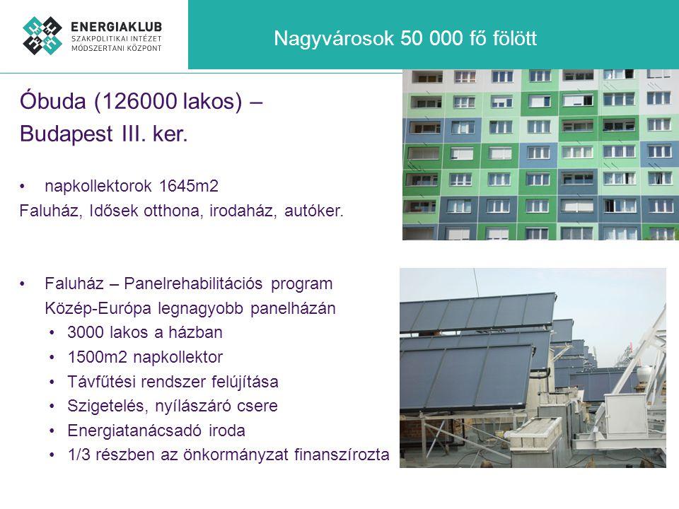 Nagyvárosok 50 000 fő fölött Óbuda (126000 lakos) – Budapest III. ker. •napkollektorok 1645m2 Faluház, Idősek otthona, irodaház, autóker. •Faluház – P