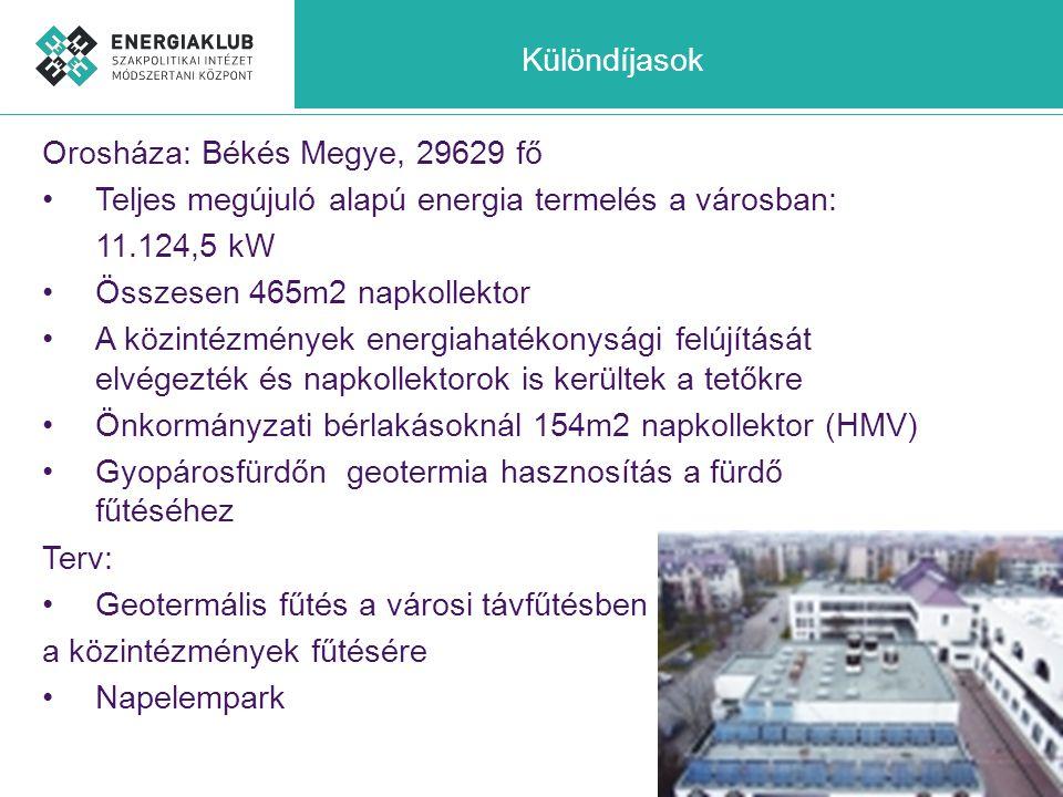 Különdíjasok Orosháza: Békés Megye, 29629 fő •Teljes megújuló alapú energia termelés a városban: 11.124,5 kW •Összesen 465m2 napkollektor •A közintézm