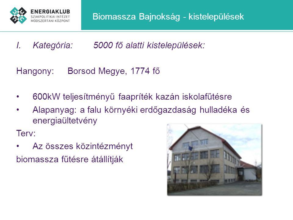 Biomassza Bajnokság - kistelepülések I.Kategória:5000 fő alatti kistelepülések: Hangony: Borsod Megye, 1774 fő •600kW teljesítményű faapríték kazán is