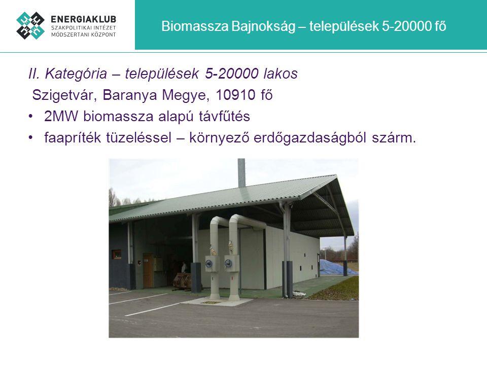 Biomassza Bajnokság – települések 5-20000 fő II. Kategória – települések 5-20000 lakos Szigetvár, Baranya Megye, 10910 fő •2MW biomassza alapú távfűté