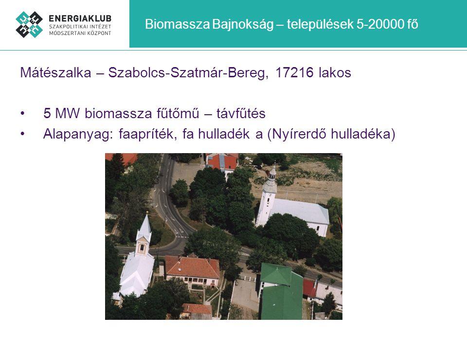 Biomassza Bajnokság – települések 5-20000 fő Mátészalka – Szabolcs-Szatmár-Bereg, 17216 lakos •5 MW biomassza fűtőmű – távfűtés •Alapanyag: faapríték,