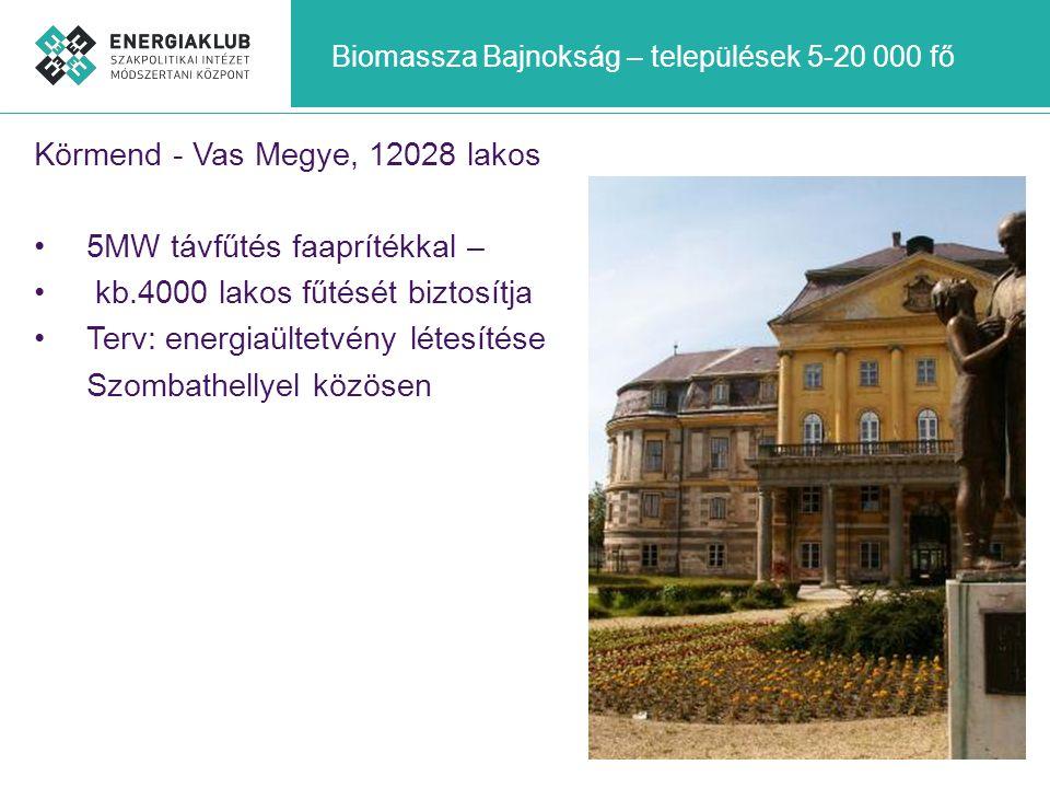 Biomassza Bajnokság – települések 5-20 000 fő Körmend - Vas Megye, 12028 lakos •5MW távfűtés faaprítékkal – • kb.4000 lakos fűtését biztosítja •Terv: