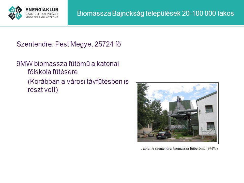 Biomassza Bajnokság települések 20-100 000 lakos Szentendre: Pest Megye, 25724 fő 9MW biomassza fűtőmű a katonai főiskola fűtésére (Korábban a városi