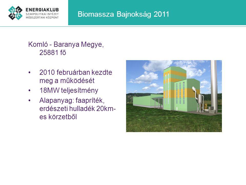 Biomassza Bajnokság 2011 Komló - Baranya Megye, 25881 fő •2010 februárban kezdte meg a működését •18MW teljesítmény •Alapanyag: faapríték, erdészeti h
