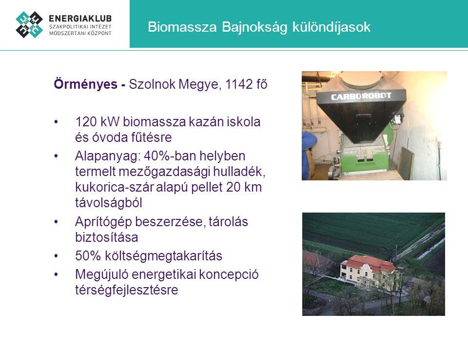 Biomassza Bajnokság különdíjasok Örményes - Szolnok Megye, 1142 fő •120 kW biomassza kazán iskola és óvoda fűtésre •Alapanyag: 40%-ban helyben termelt