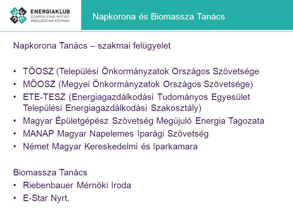 Napkorona és Biomassza Tanács Napkorona Tanács – szakmai felügyelet •TÖOSZ (Települési Önkormányzatok Országos Szövetsége •MÖOSZ (Megyei Önkormányzato