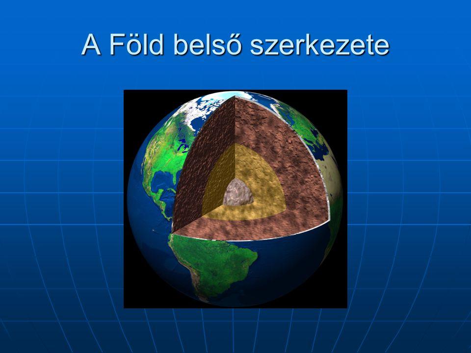 Belső felépítése  litoszféra= Kéreg+köpeny felső szilárd burka  Asztenoszféra  Külső mag  Belső mag