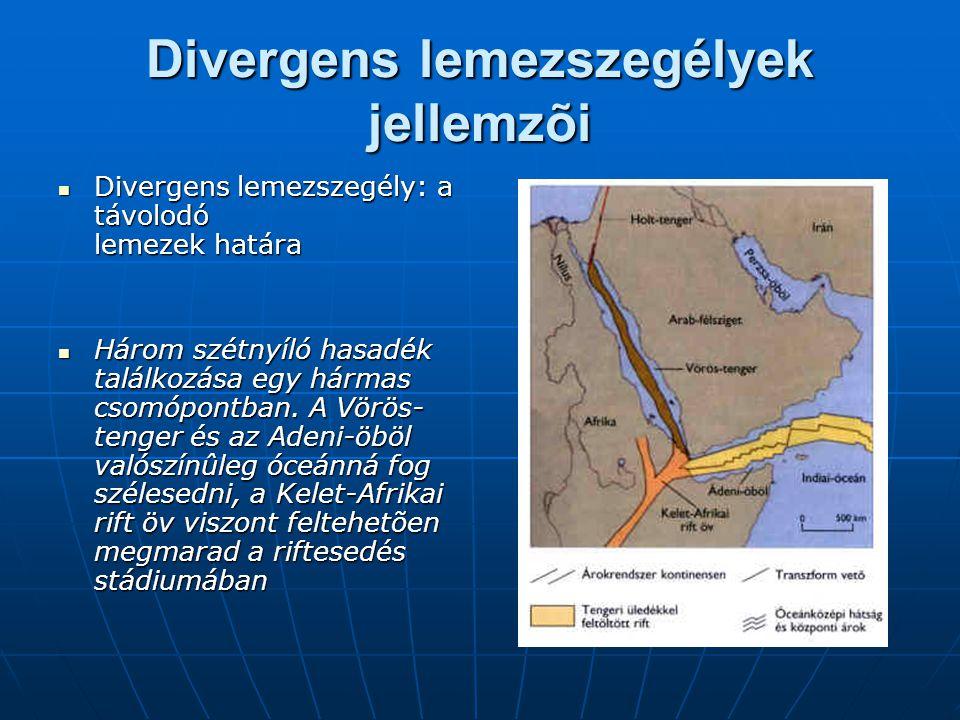 Divergens lemezszegélyek jellemzõi  Divergens lemezszegély: a távolodó lemezek határa  Három szétnyíló hasadék találkozása egy hármas csomópontban.