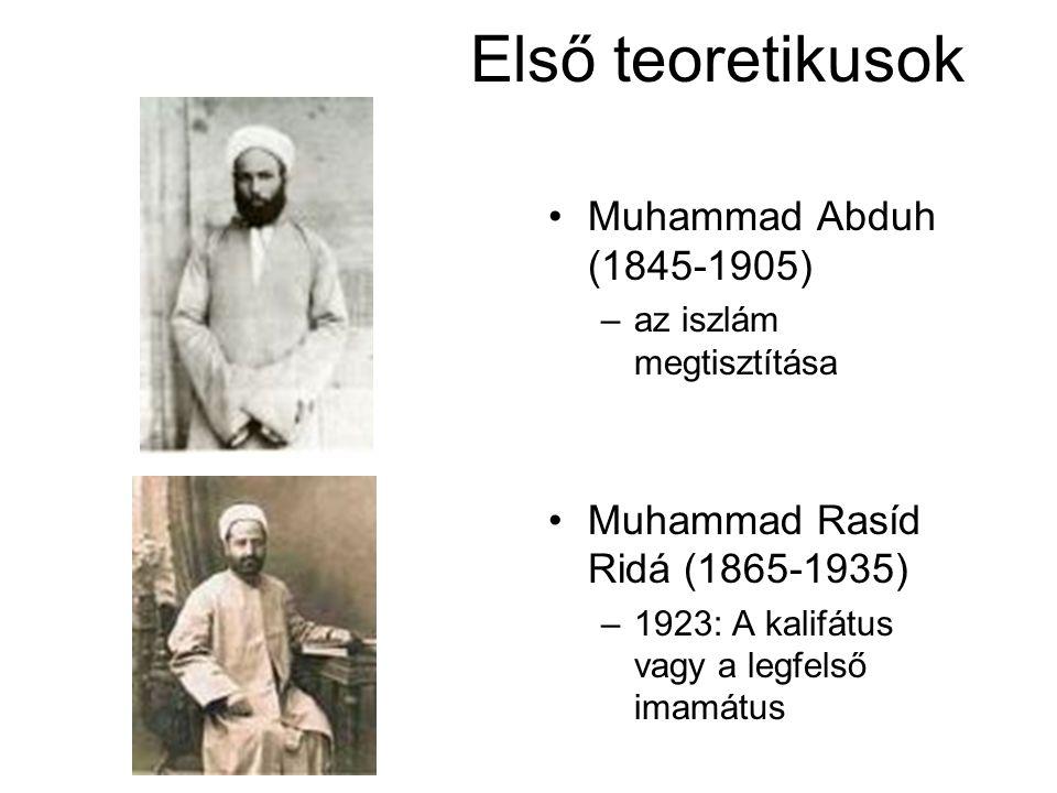Első teoretikusok •Muhammad Abduh (1845-1905) –az iszlám megtisztítása •Muhammad Rasíd Ridá (1865-1935) –1923: A kalifátus vagy a legfelső imamátus
