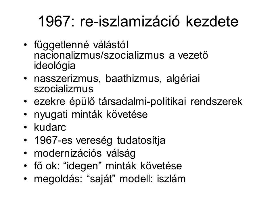 1967: re-iszlamizáció kezdete •függetlenné válástól nacionalizmus/szocializmus a vezető ideológia •nasszerizmus, baathizmus, algériai szocializmus •ez