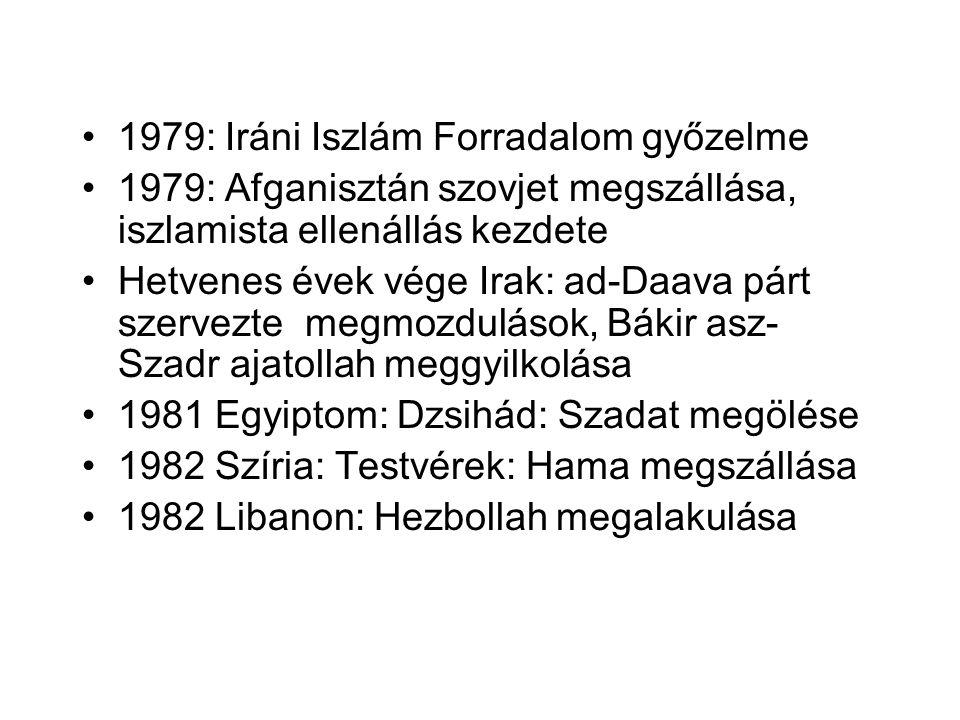 •1979: Iráni Iszlám Forradalom győzelme •1979: Afganisztán szovjet megszállása, iszlamista ellenállás kezdete •Hetvenes évek vége Irak: ad-Daava párt