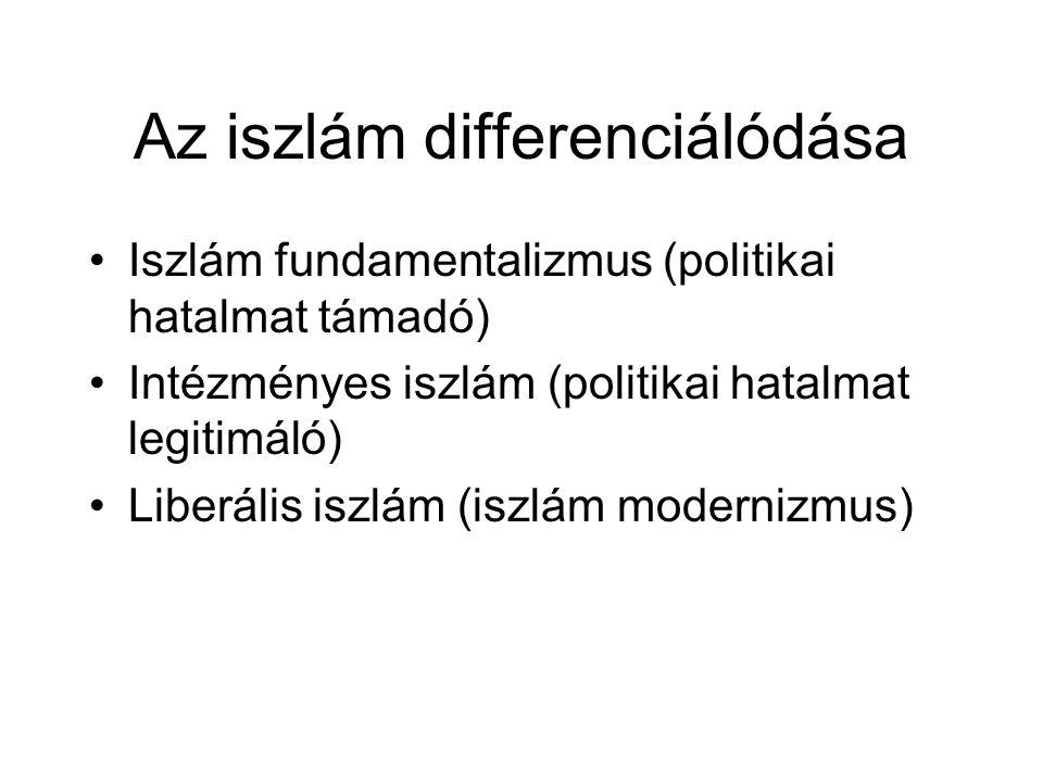 Az iszlám differenciálódása •Iszlám fundamentalizmus (politikai hatalmat támadó) •Intézményes iszlám (politikai hatalmat legitimáló) •Liberális iszlám