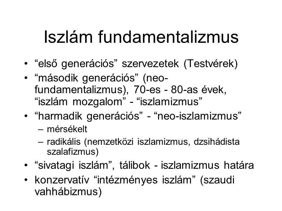 """Iszlám fundamentalizmus •""""első generációs"""" szervezetek (Testvérek) •""""második generációs"""" (neo- fundamentalizmus), 70-es - 80-as évek, """"iszlám mozgalom"""