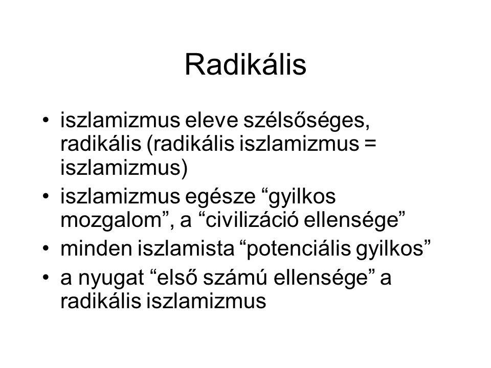 """Radikális •iszlamizmus eleve szélsőséges, radikális (radikális iszlamizmus = iszlamizmus) •iszlamizmus egésze """"gyilkos mozgalom"""", a """"civilizáció ellen"""