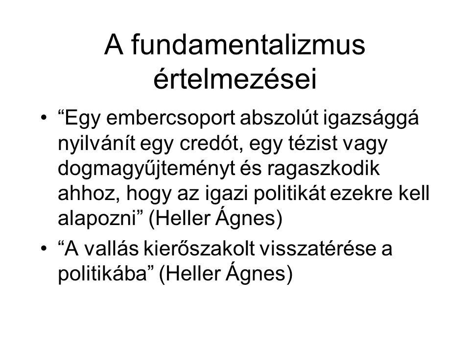 """A fundamentalizmus értelmezései •""""Egy embercsoport abszolút igazsággá nyilvánít egy credót, egy tézist vagy dogmagyűjteményt és ragaszkodik ahhoz, hog"""