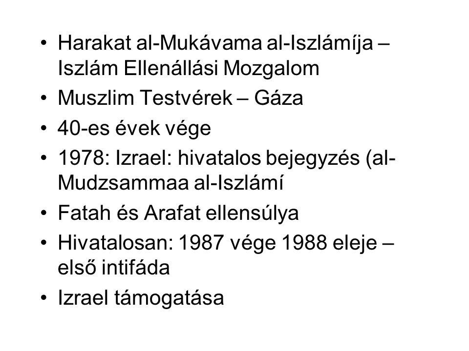 •Harakat al-Mukávama al-Iszlámíja – Iszlám Ellenállási Mozgalom •Muszlim Testvérek – Gáza •40-es évek vége •1978: Izrael: hivatalos bejegyzés (al- Mud