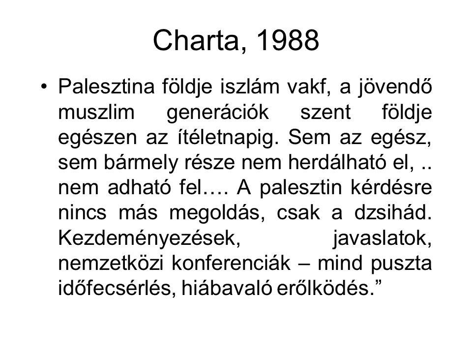 Charta, 1988 •Palesztina földje iszlám vakf, a jövendő muszlim generációk szent földje egészen az ítéletnapig. Sem az egész, sem bármely része nem her