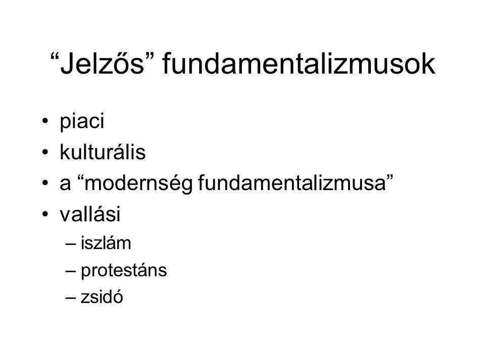 """""""Jelzős"""" fundamentalizmusok •piaci •kulturális •a """"modernség fundamentalizmusa"""" •vallási –iszlám –protestáns –zsidó"""