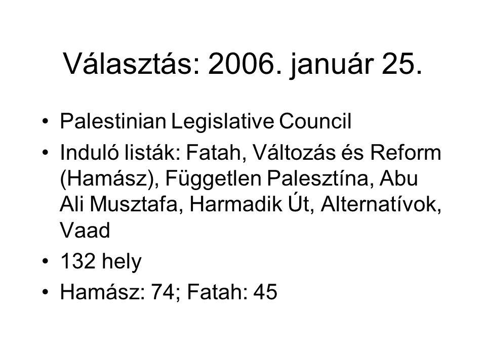 Választás: 2006. január 25. •Palestinian Legislative Council •Induló listák: Fatah, Változás és Reform (Hamász), Független Palesztína, Abu Ali Musztaf
