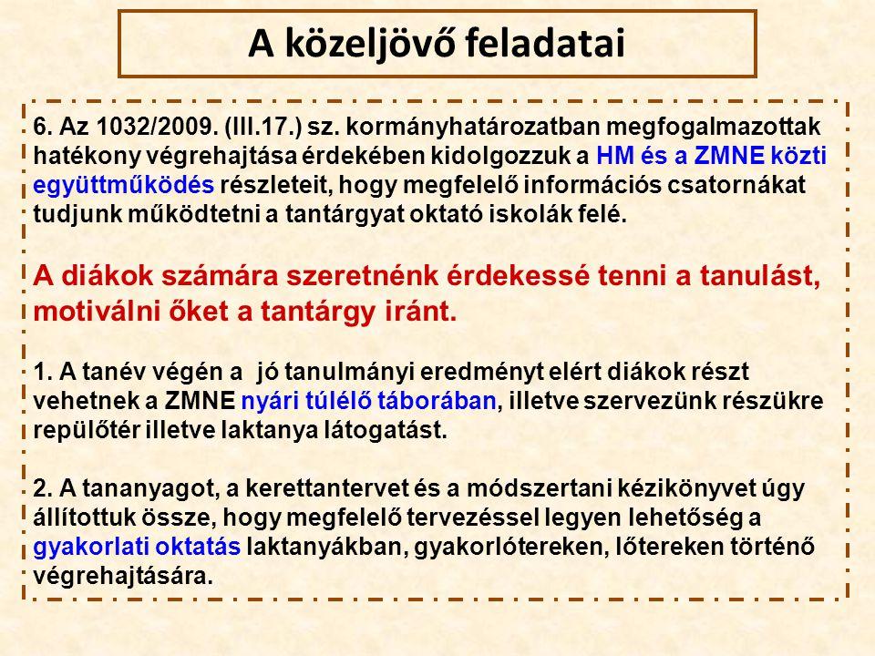 6. Az 1032/2009. (III.17.) sz. kormányhatározatban megfogalmazottak hatékony végrehajtása érdekében kidolgozzuk a HM és a ZMNE közti együttműködés rés