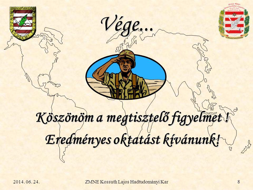 2014. 06. 24.ZMNE Kossuth Lajos Hadtudományi Kar8 Köszönöm a megtisztelő figyelmet ! Eredményes oktatást kívánunk! Vége...
