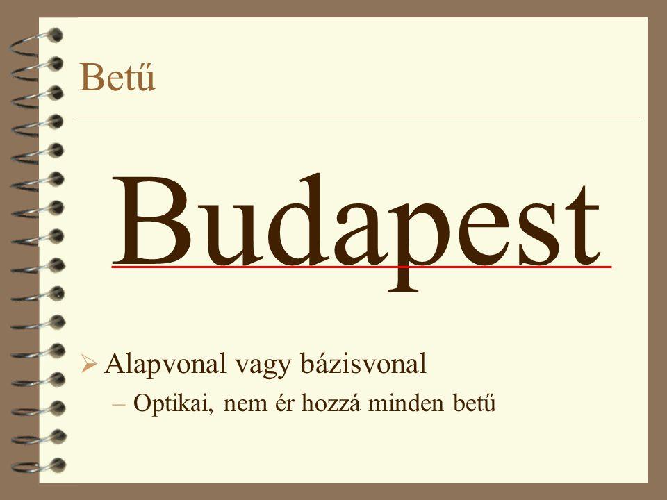 Betű Budapest  Alapvonal vagy bázisvonal –Optikai, nem ér hozzá minden betű