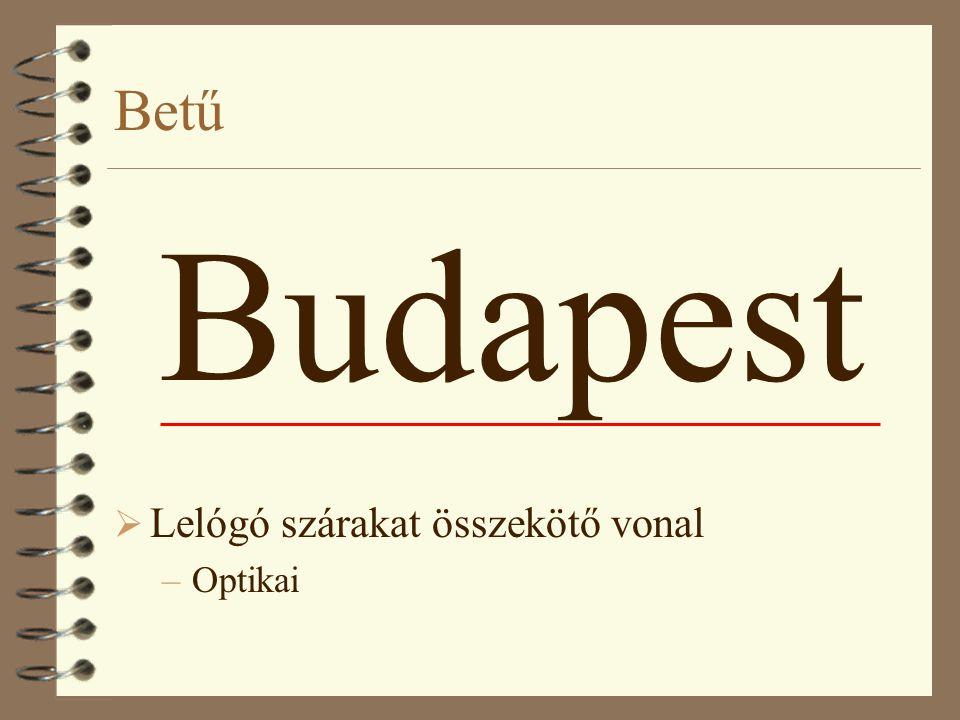 Betű Budapest  Lelógó szárakat összekötő vonal –Optikai