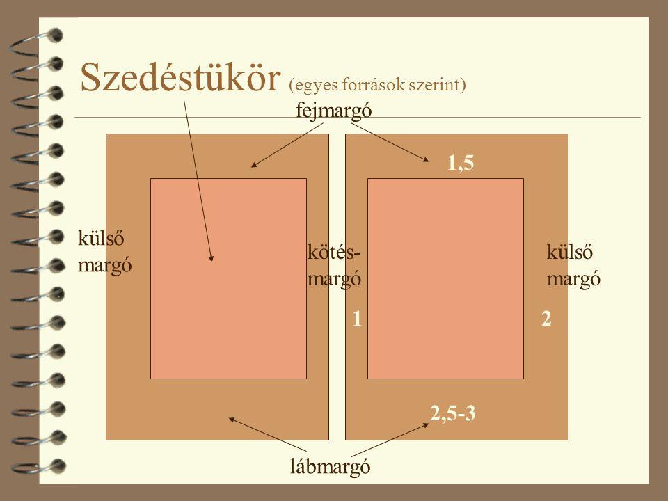 Szedéstükör (egyes források szerint) kötés- margó külső margó lábmargó fejmargó 12 1,5 2,5-3